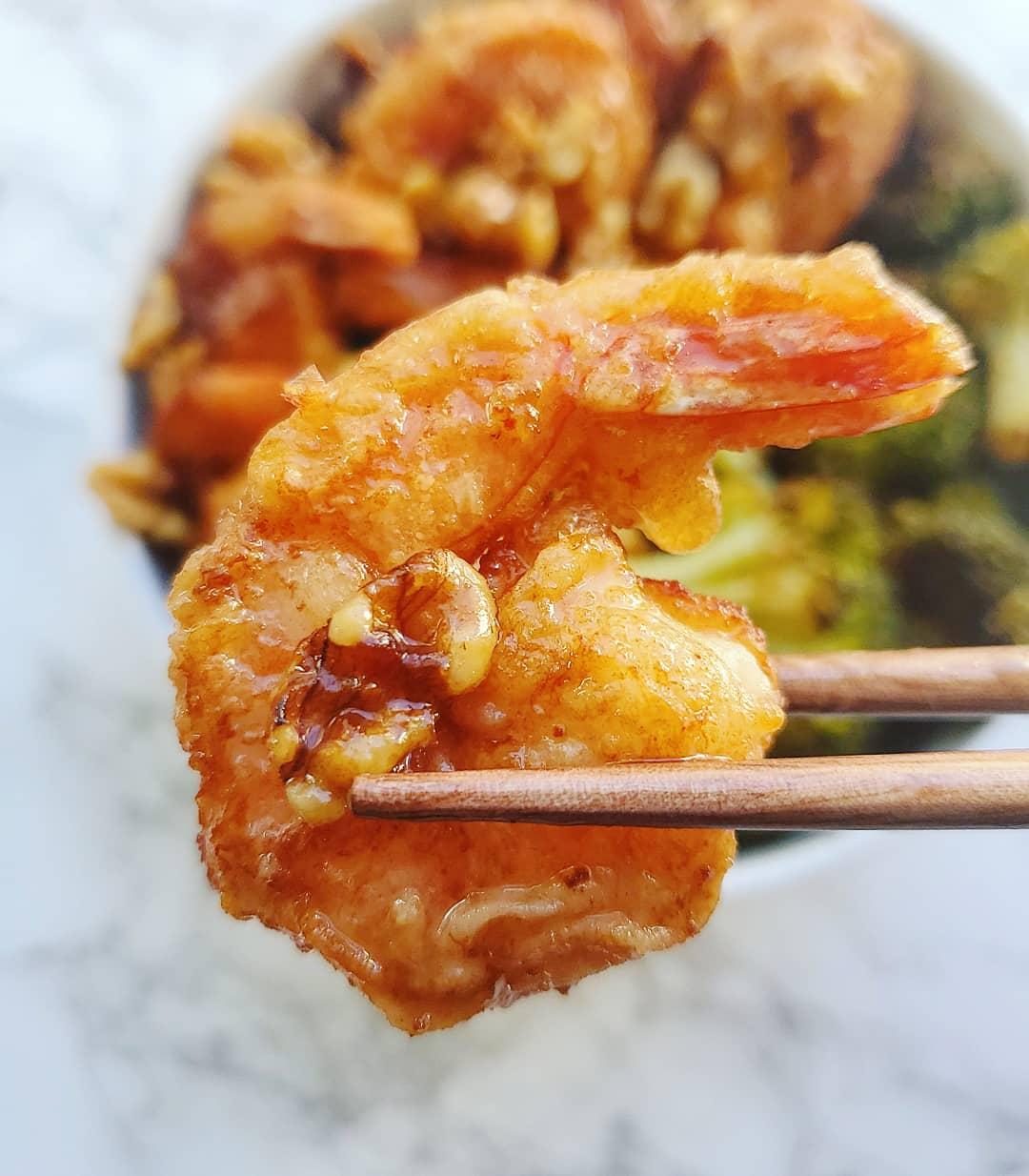spinach and bacon  honey walnut shrimp